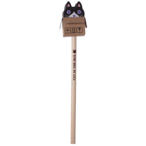Mačka v krabici - ceruzka s gumou 3 - pre milovníkov mačiek