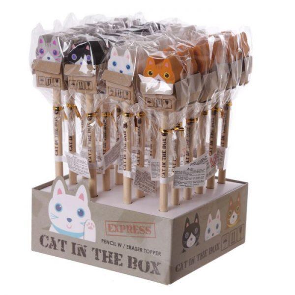 Mačka v krabici - ceruzka s gumou 2 - pre milovníkov mačiek