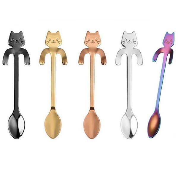 Metal spoon with a cat - black 1 - pre milovníkov mačiek