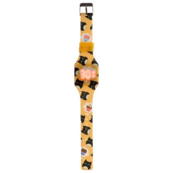 Žlté detské silikónové digitálne hodinky s motívom mačičky Feline Fine 4 - pre milovníkov mačiek