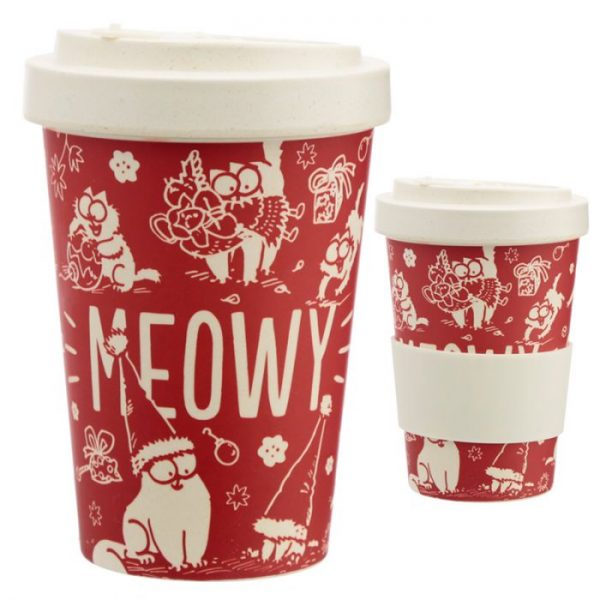 Simon's Cat MEOW Vianočný Cestovný bambusový hrnček 1 - pre milovníkov mačiek