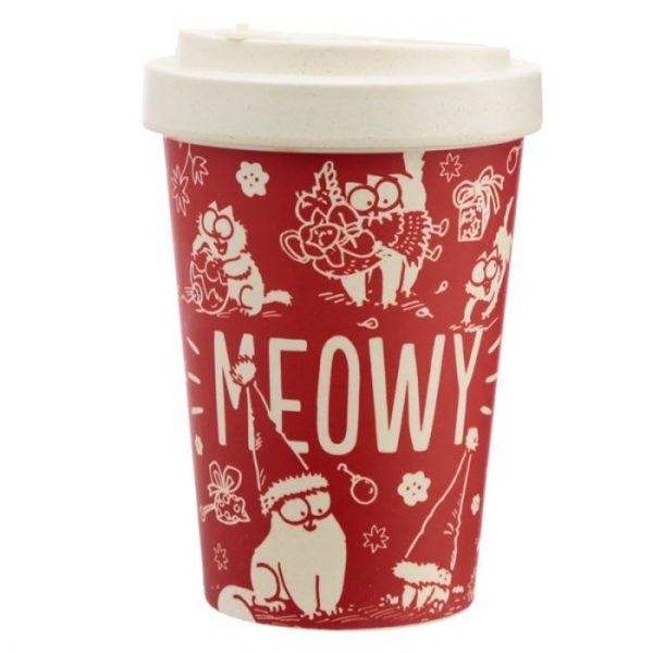 Simon's Cat MEOW Vianočný Cestovný bambusový hrnček 3 - pre milovníkov mačiek
