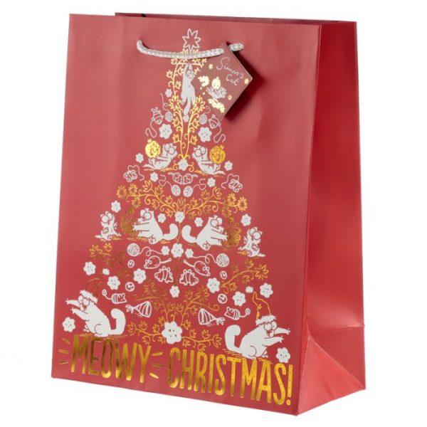 Simon's Cat Meowy Vianočná metalická darčeková taška - veľká 1 - pre milovníkov mačiek