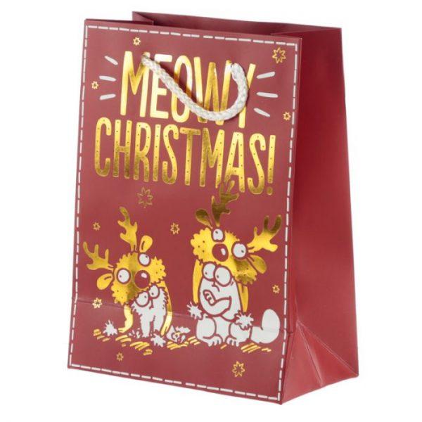 Simon's Cat Meowy Vianočná metalická darčeková taška - stredná 3 - pre milovníkov mačiek