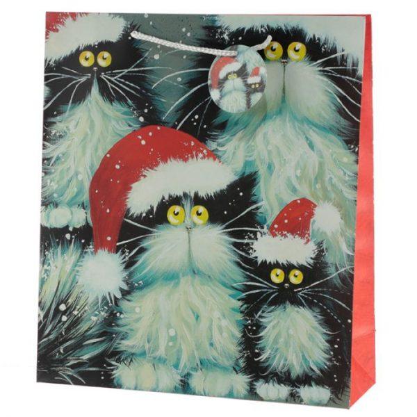 Kim Haskins Vianočné mačacie Darčeková taška - extra veľká 1 - pre milovníkov mačiek