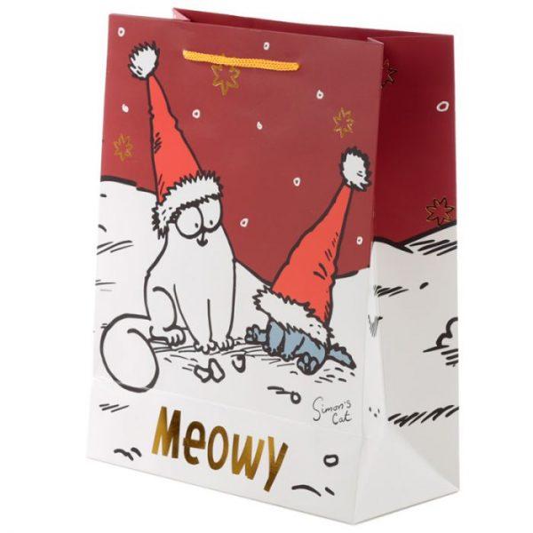 Veľká darčeková taška Vianoce Simon's Cat - Simonova mačka 3 - pre milovníkov mačiek