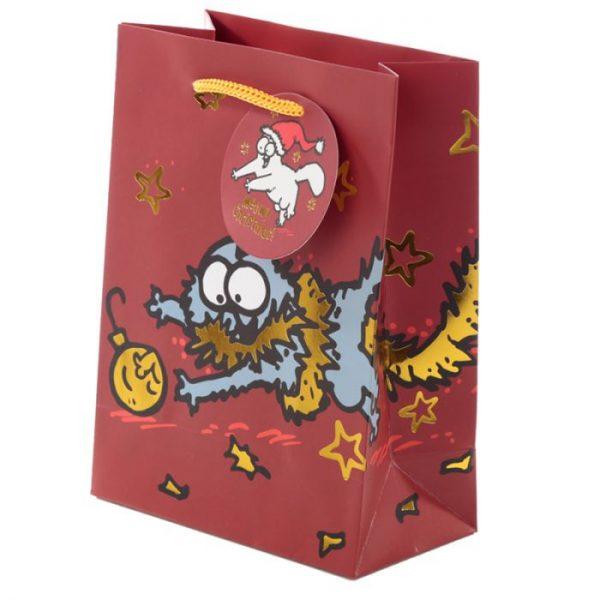 Stredná darčeková taška Vianoce Simon's Cat - Simonova mačka 1 - pre milovníkov mačiek