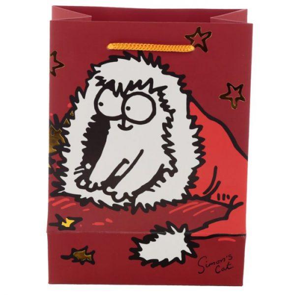 Stredná darčeková taška Vianoce Simon's Cat - Simonova mačka 4 - pre milovníkov mačiek