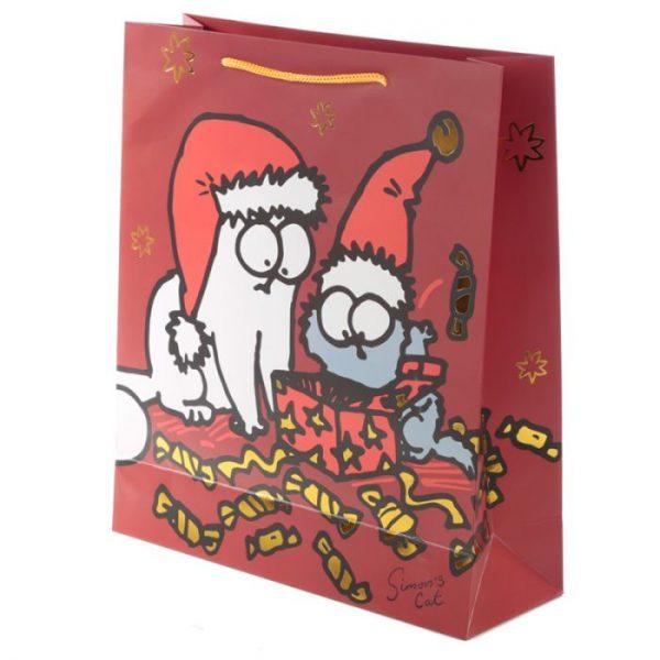 Extra veľká darčeková taška Vianoce Simon's Cat - Simonova mačka 3 - pre milovníkov mačiek