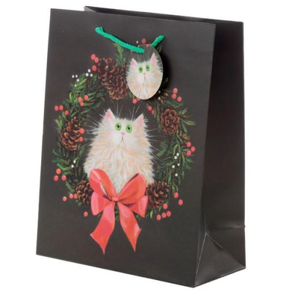 Veľká darčeková taška Mačka a vianočný veniec, dizajn Kim Haskins 1 - pre milovníkov mačiek