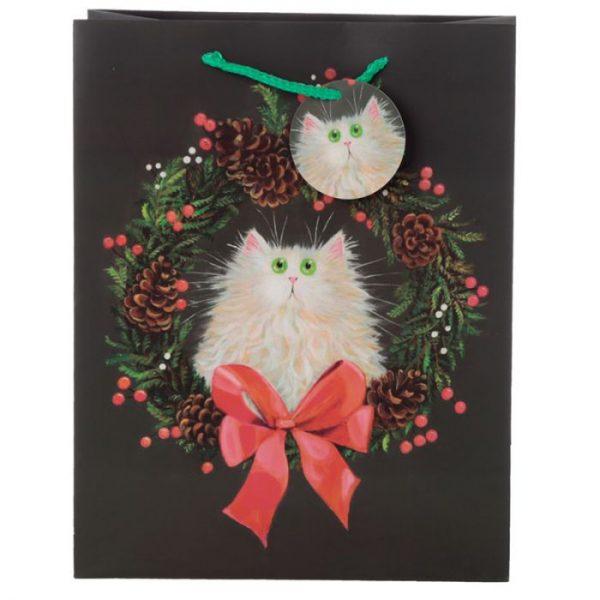 Veľká darčeková taška Mačka a vianočný veniec, dizajn Kim Haskins 2 - pre milovníkov mačiek