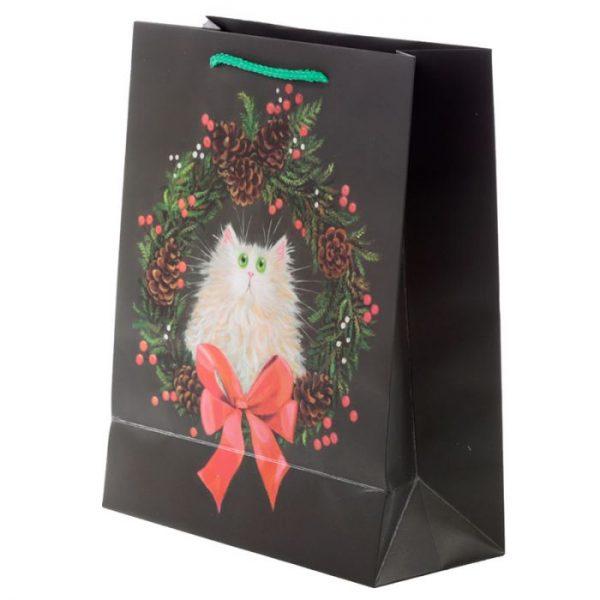 Veľká darčeková taška Mačka a vianočný veniec, dizajn Kim Haskins 3 - pre milovníkov mačiek