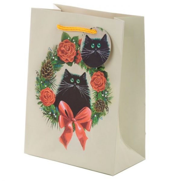 Vianočná Kim Haskins Cat Wreath Darčeková taška - stredná 1 - pre milovníkov mačiek