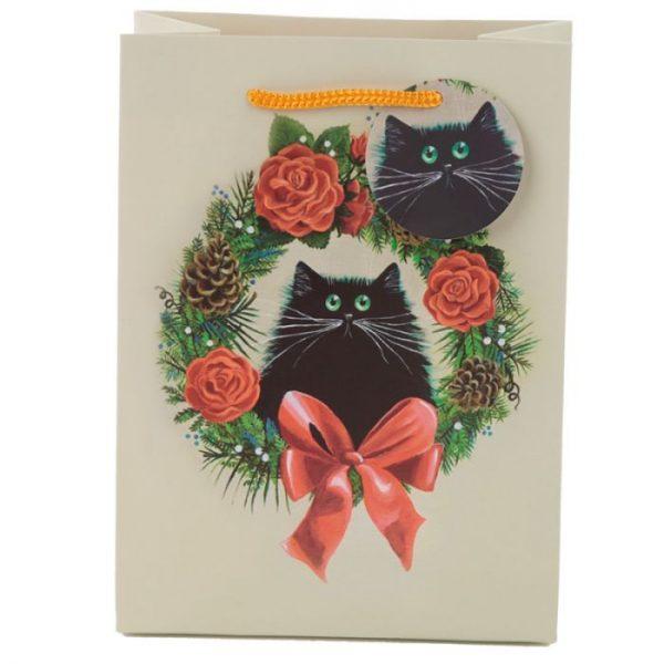 Vianočná Kim Haskins Cat Wreath Darčeková taška - stredná 2 - pre milovníkov mačiek