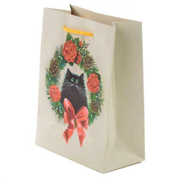 Vianočná Kim Haskins Cat Wreath Darčeková taška - stredná 3 - pre milovníkov mačiek
