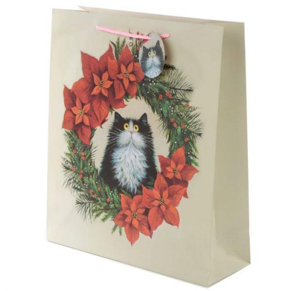 Extra veľká darčeková taška s motívom mačičky vo vianočnom venci Kim Haskins 1 - pre milovníkov mačiek