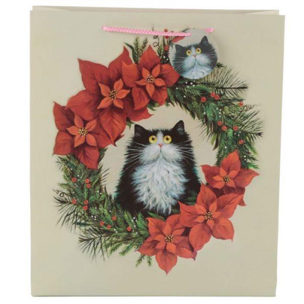 Extra veľká darčeková taška s motívom mačičky vo vianočnom venci Kim Haskins 2 - pre milovníkov mačiek