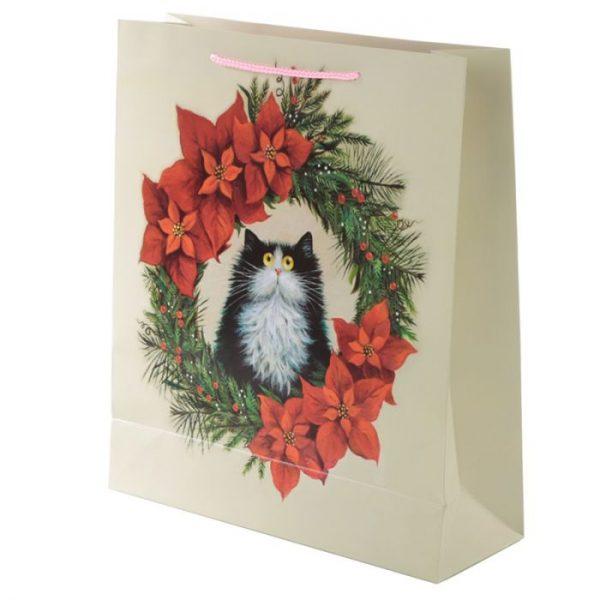 Extra veľká darčeková taška s motívom mačičky vo vianočnom venci Kim Haskins 3 - pre milovníkov mačiek