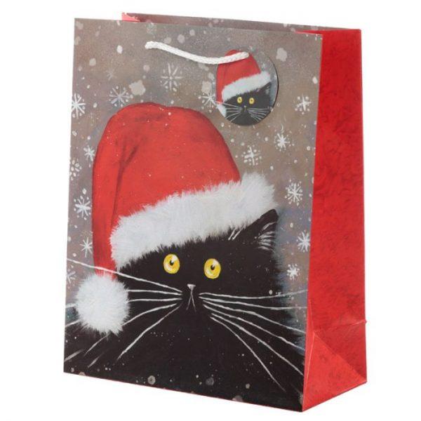 Veľká darčeková taška s vianočným motívom mačičky Kim Haskins 1 - pre milovníkov mačiek