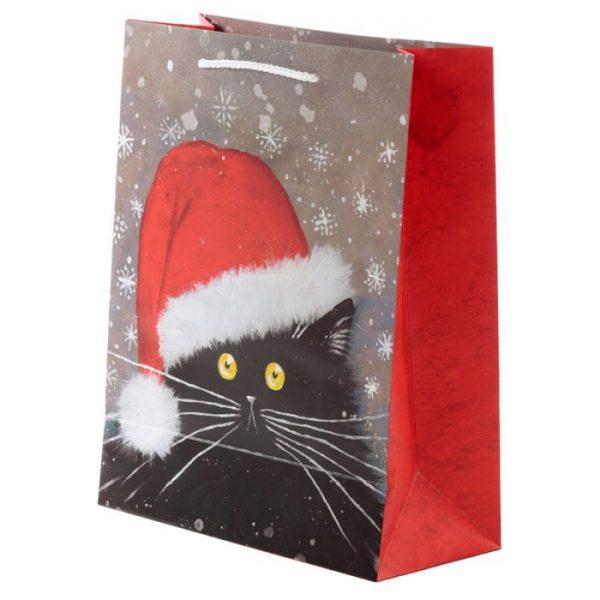 Veľká darčeková taška s vianočným motívom mačičky Kim Haskins 2 - pre milovníkov mačiek