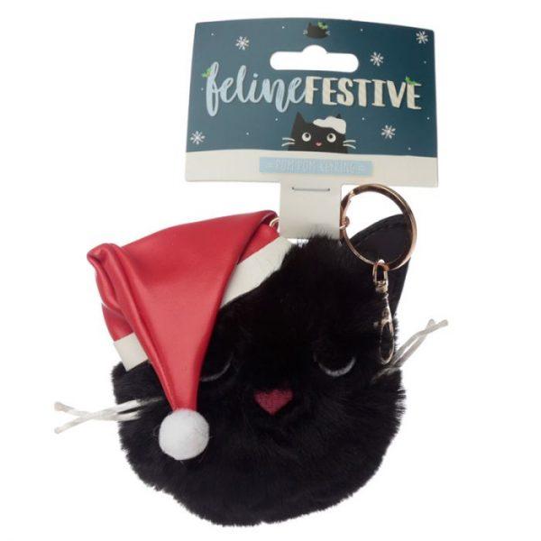 Festive Feline Vianočná kočka Pom Pom Kľúčenka 1 - pre milovníkov mačiek