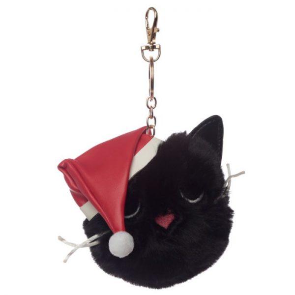Festive Feline Vianočná kočka Pom Pom Kľúčenka 2 - pre milovníkov mačiek