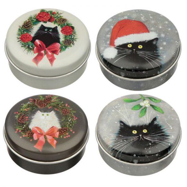 Kim Haskins Christmas Cat Balzam na pery v plechovke - Vianočná sušienka 3 - pre milovníkov mačiek