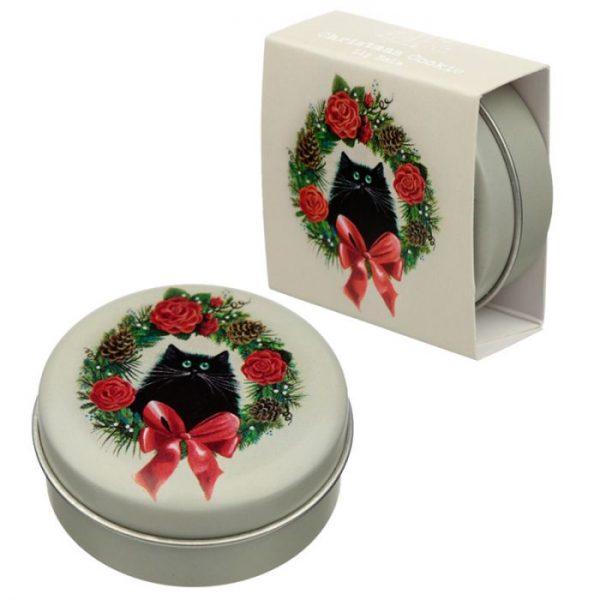 Kim Haskins Christmas Cat Balzam na pery v plechovke - Vianočná sušienka 1 - pre milovníkov mačiek