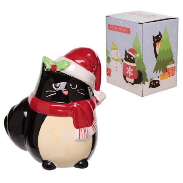 Feline Festive Vianočná Mačka - Keramická Pokladnička 4 - pre milovníkov mačiek