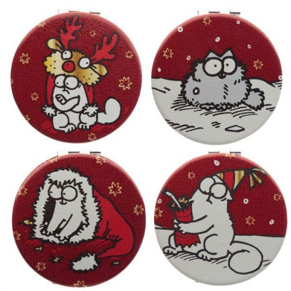 Simon's Cat Vianočné Koženkové kompaktné zrkadielko 1 - pre milovníkov mačiek