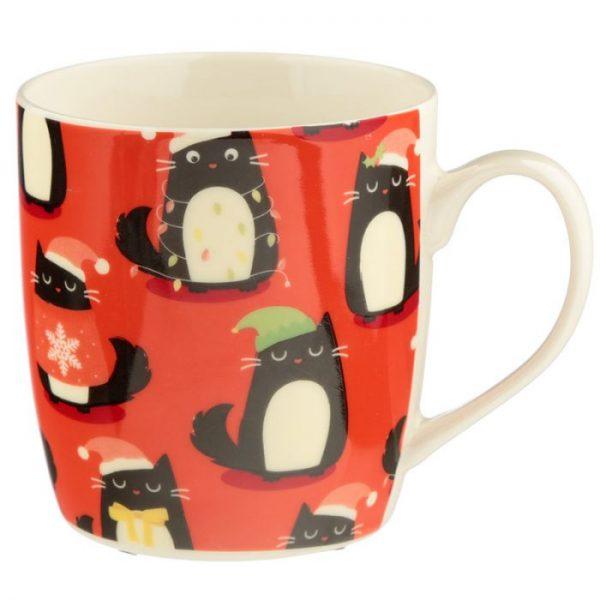 Feline Festive Cat Porcelánový hrnček 4 - pre milovníkov mačiek
