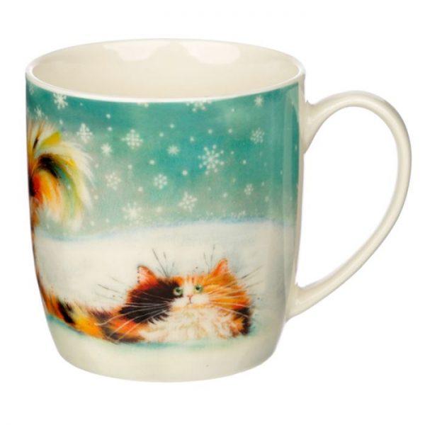 Vianočná porcelánová šálka s motívom ryšavej mačičky Kim Haskins 1 - pre milovníkov mačiek