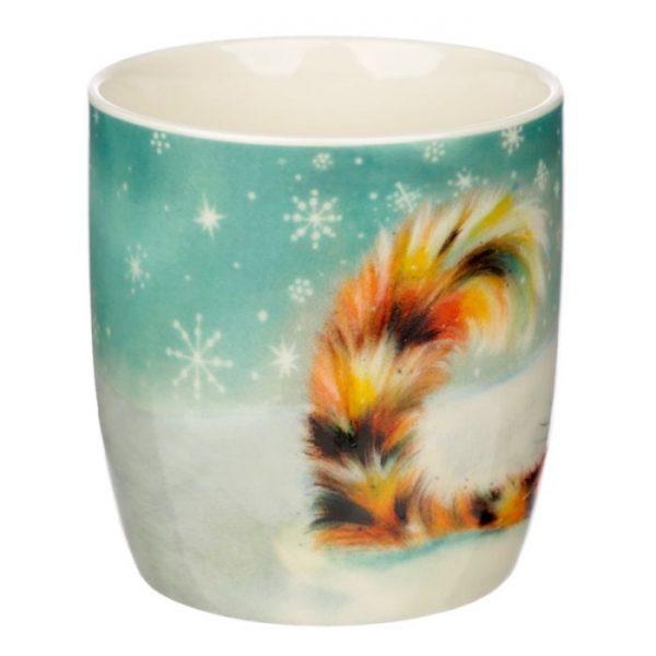 Vianočná porcelánová šálka s motívom ryšavej mačičky Kim Haskins 2 - pre milovníkov mačiek
