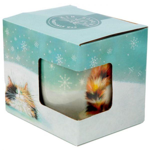 Vianočná porcelánová šálka s motívom ryšavej mačičky Kim Haskins 3 - pre milovníkov mačiek