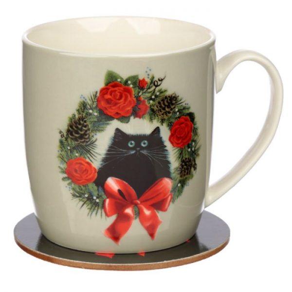 Kim Haskins Vianočný wreath cat set šálky a podšálky 1 - pre milovníkov mačiek