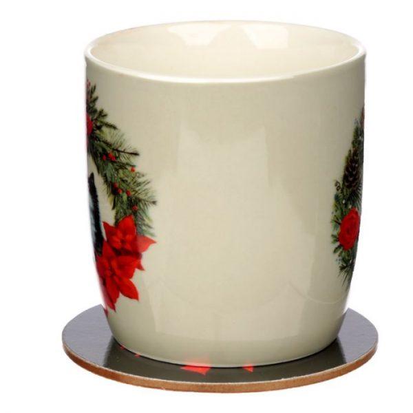 Kim Haskins Vianočný wreath cat set šálky a podšálky 4 - pre milovníkov mačiek