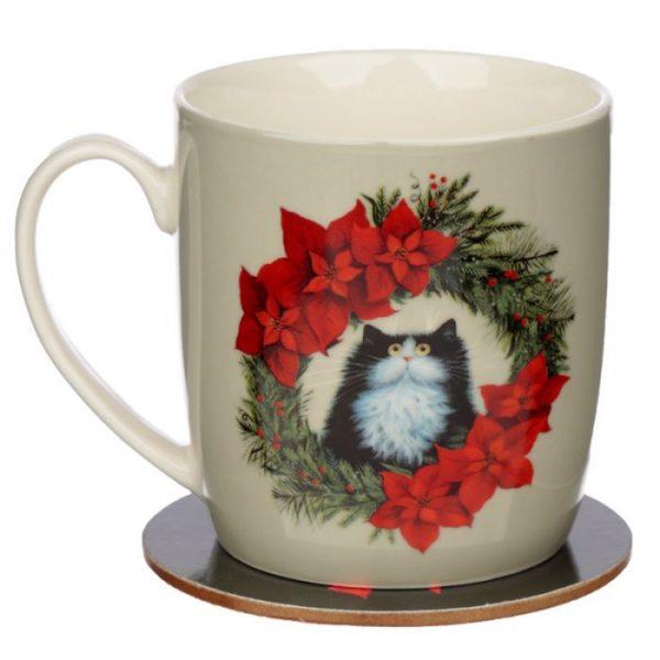 Kim Haskins Vianočný wreath cat set šálky a podšálky 5 - pre milovníkov mačiek