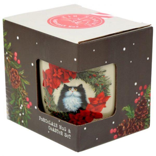 Kim Haskins Vianočný wreath cat set šálky a podšálky 2 - pre milovníkov mačiek
