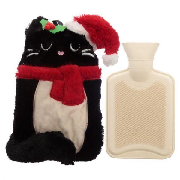Feline Festive Vianočná Mačka 1L plyšová fľaša na horúcu vodu - termovankúšik 1 - pre milovníkov mačiek