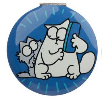Kompaktné zrkadlo s motívom Simon's Cat - modré 1 - pre milovníkov mačiek