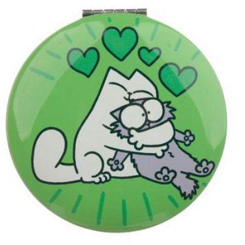 Kompaktné zrkadlo s motívom Simon's Cat - zelené 1 - pre milovníkov mačiek