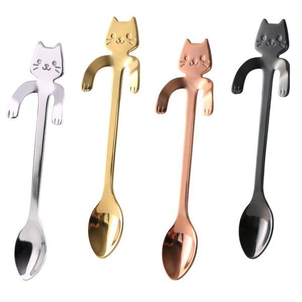Metal spoon with a cat - blue 7 - pre milovníkov mačiek