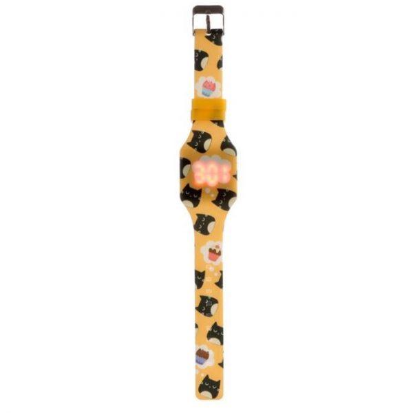 Žlté detské silikónové digitálne hodinky s motívom mačičky Feline Fine 1 - pre milovníkov mačiek
