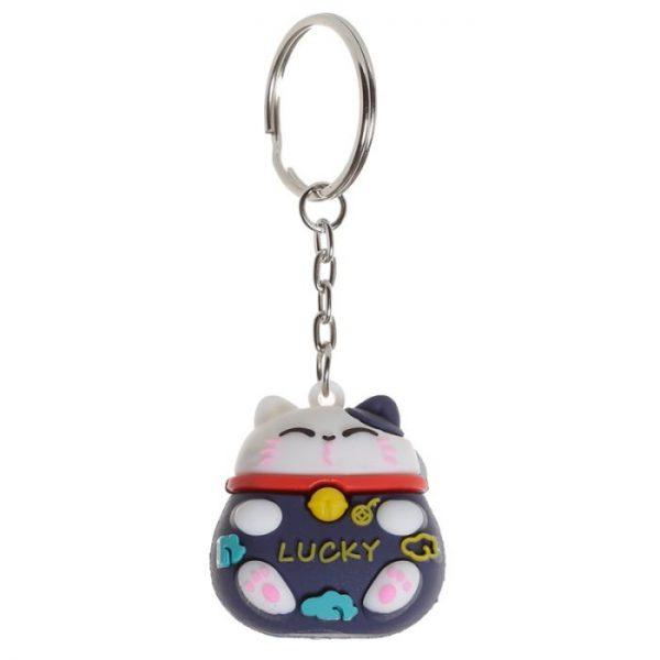 Maneki Neko Lucky Cat 3D PVC Keyring - Black 1 - pre milovníkov mačiek