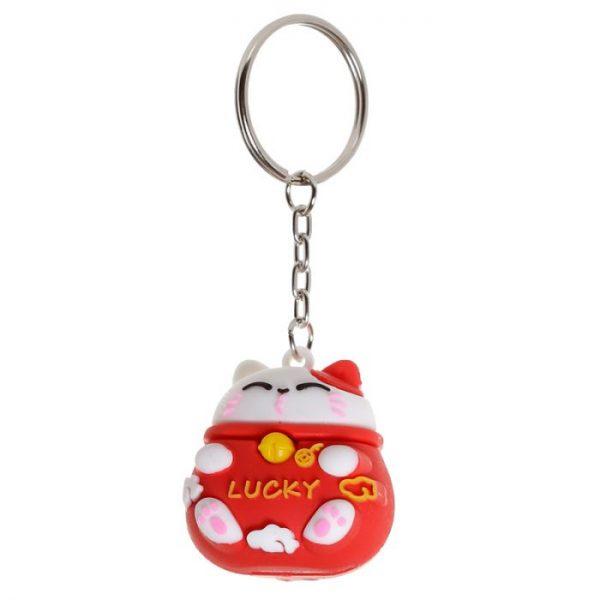 Maneki Neko Mačka štastia 3D PCV kľúčenka - červená 1 - pre milovníkov mačiek