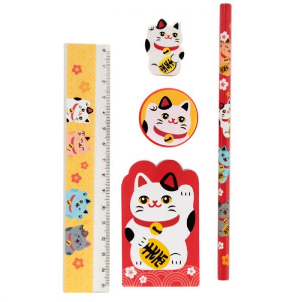 Maneki Neko Mačka šťastia 5 Kusový stacionárny set - Biela mačka 1 - pre milovníkov mačiek