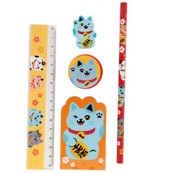 Maneki Neko Mačka šťastia 5 Kusový stacionárny set - Modrá mačka 1 - pre milovníkov mačiek