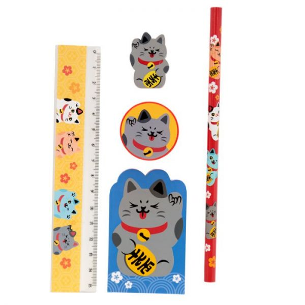Maneki Neko Lucky Cat 5 Piece Stationary Set - Black cat 1 - pre milovníkov mačiek