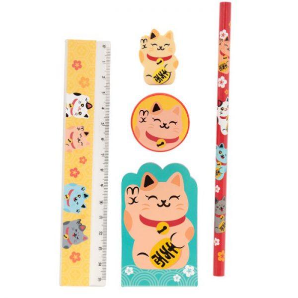 Maneki Neko Lucky Cat 5 Piece Stationary Set - Yellow cat 1 - pre milovníkov mačiek