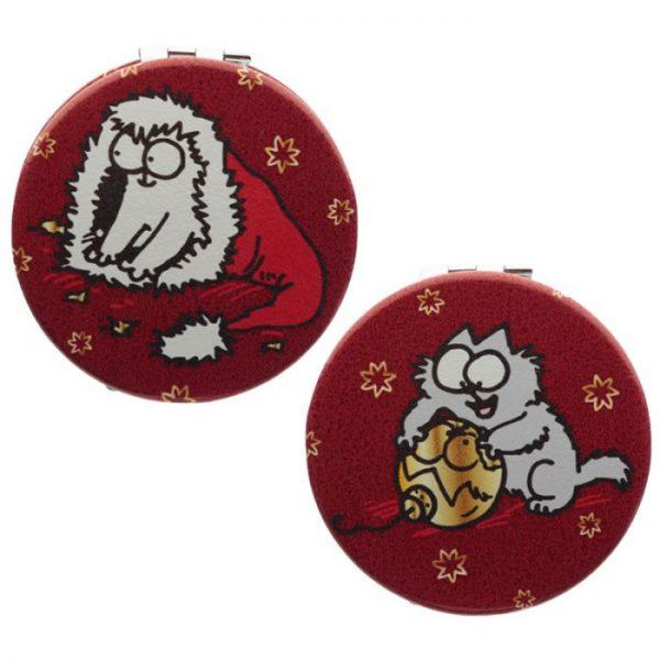 Simon's Cat Vianočné Koženkové Kompaktné Zrkadielko - 2 1 - pre milovníkov mačiek